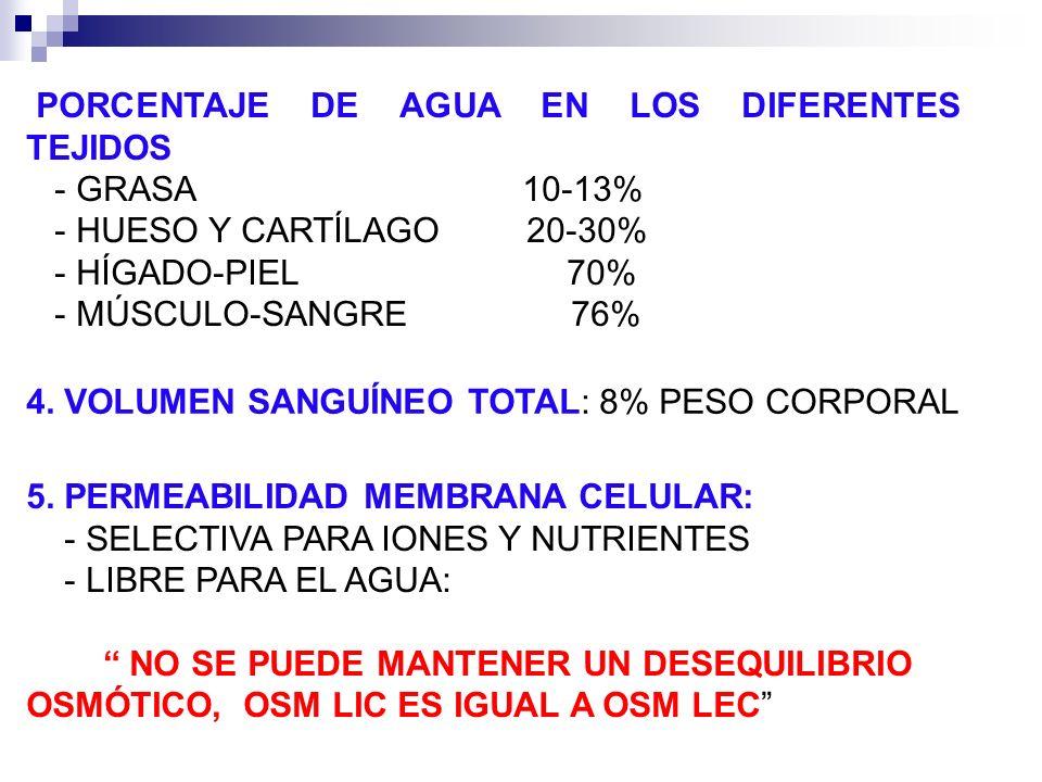 PORCENTAJE DE AGUA EN LOS DIFERENTES TEJIDOS GRASA 10 13% HUESO Y CARTÍLAGO 20 30% HÍGADO PIEL 70% MÚSCULO SANGRE 76% 4. VOLUMEN SANGUÍNEO TOTAL: 8% P
