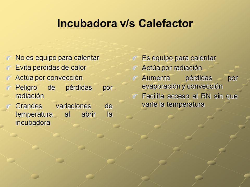 Incubadora v/s Calefactor No es equipo para calentar Evita perdidas de calor Actúa por convección Peligro de pérdidas por radiación Grandes variacione