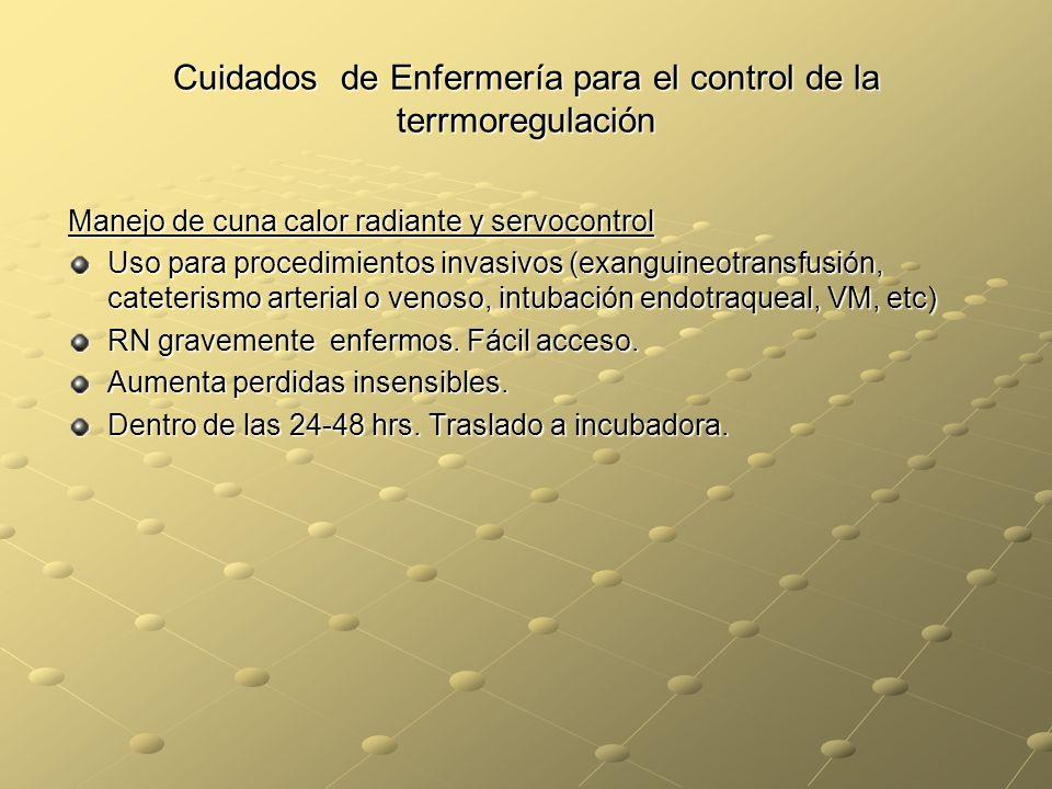 Cuidados de Enfermería para el control de la terrmoregulación Manejo de cuna calor radiante y servocontrol Uso para procedimientos invasivos (exanguin