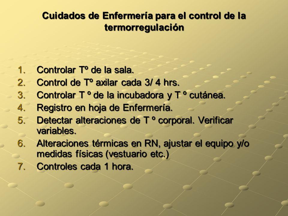 Cuidados de Enfermería para el control de la termorregulación 1.Controlar Tº de la sala. 2.Control de Tº axilar cada 3/ 4 hrs. 3.Controlar T º de la i