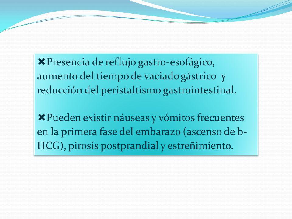 Presencia de reflujo gastro-esofágico, aumento del tiempo de vaciado gástrico y reducción del peristaltismo gastrointestinal. Pueden existir náuseas y