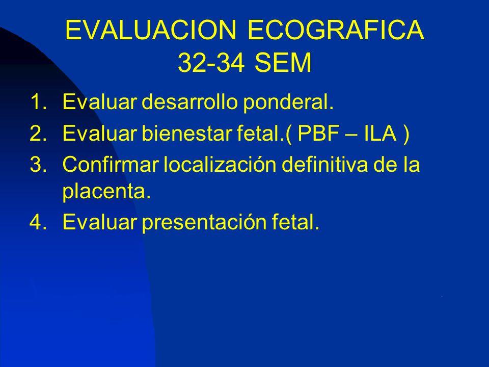 EVALUACION ECOGRAFICA 32-34 SEM 1.Evaluar desarrollo ponderal. 2.Evaluar bienestar fetal.( PBF – ILA ) 3.Confirmar localización definitiva de la place