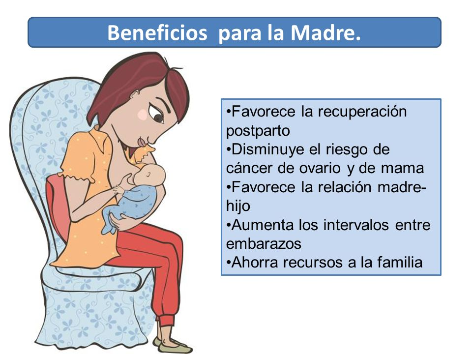 Favorece la recuperación postparto Disminuye el riesgo de cáncer de ovario y de mama Favorece la relación madre- hijo Aumenta los intervalos entre embarazos Ahorra recursos a la familia Beneficios para la Madre.