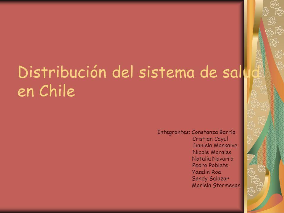 Distribución del sistema de salud en Chile Integrantes: Constanza Barría Cristian Cayul Daniela Monsalve Nicole Morales Natalia Navarro Pedro Poblete Yoselin Roa Sandy Salazar Mariela Stormesan