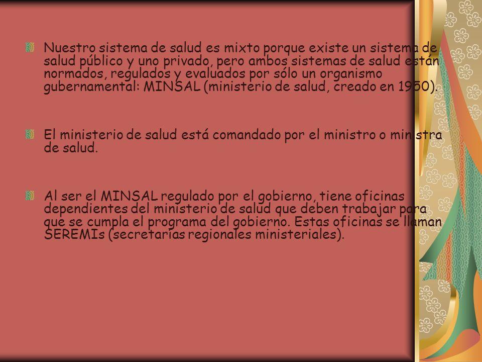 El ministerio tiene además de los ministros, la subsecretaría de salud.