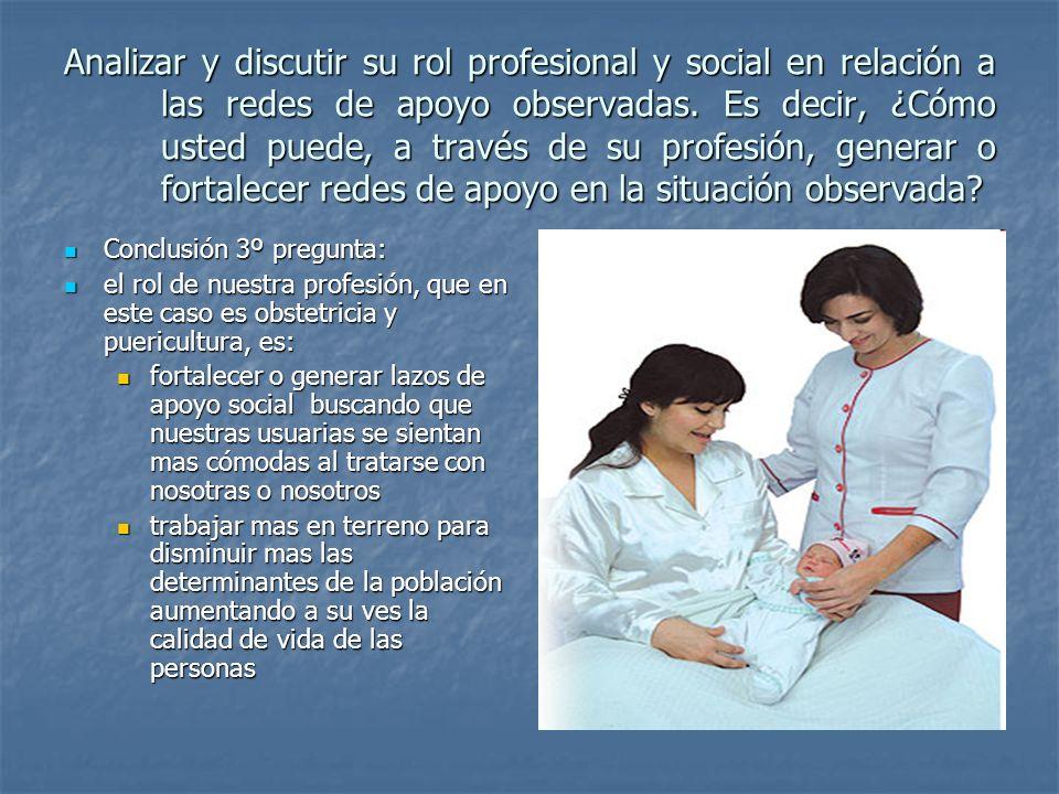 Analizar y discutir su rol profesional y social en relación a las redes de apoyo observadas.