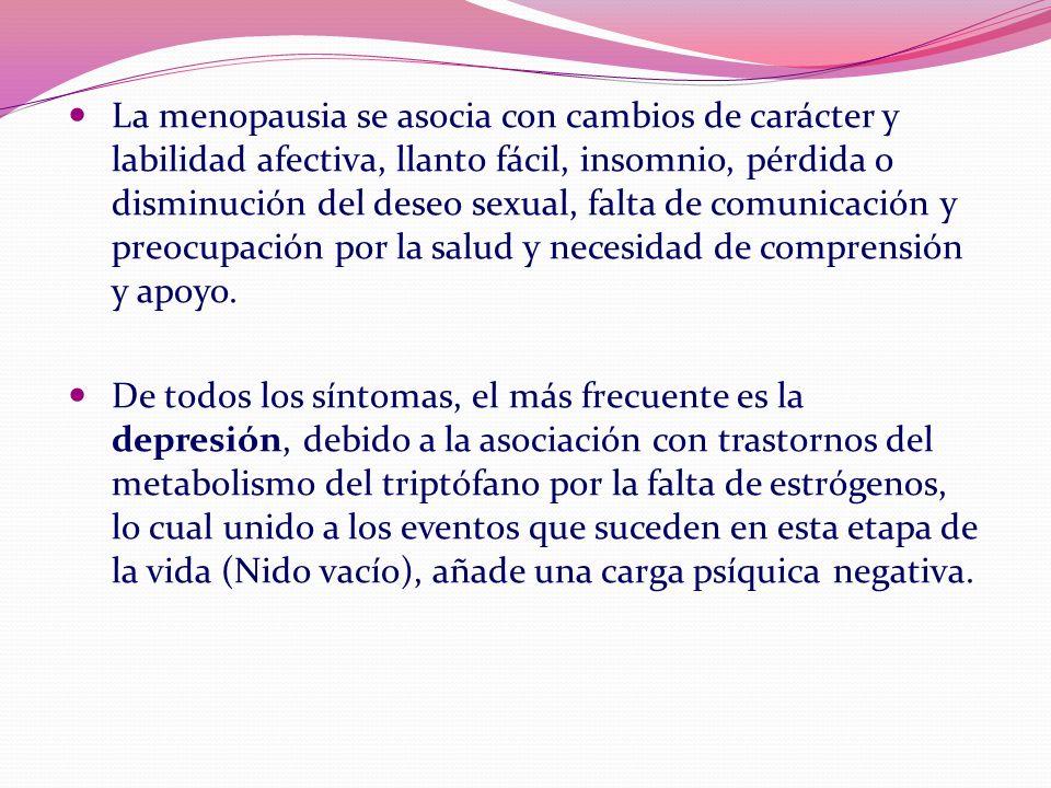 La menopausia se asocia con cambios de carácter y labilidad afectiva, llanto fácil, insomnio, pérdida o disminución del deseo sexual, falta de comunic