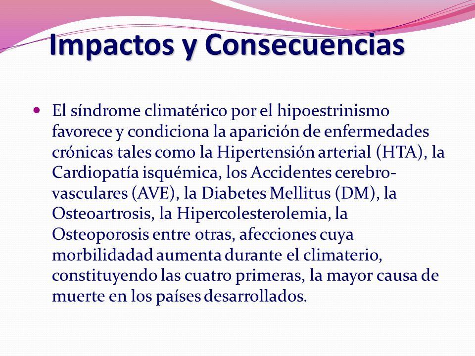 Impactos y Consecuencias El síndrome climatérico por el hipoestrinismo favorece y condiciona la aparición de enfermedades crónicas tales como la Hiper