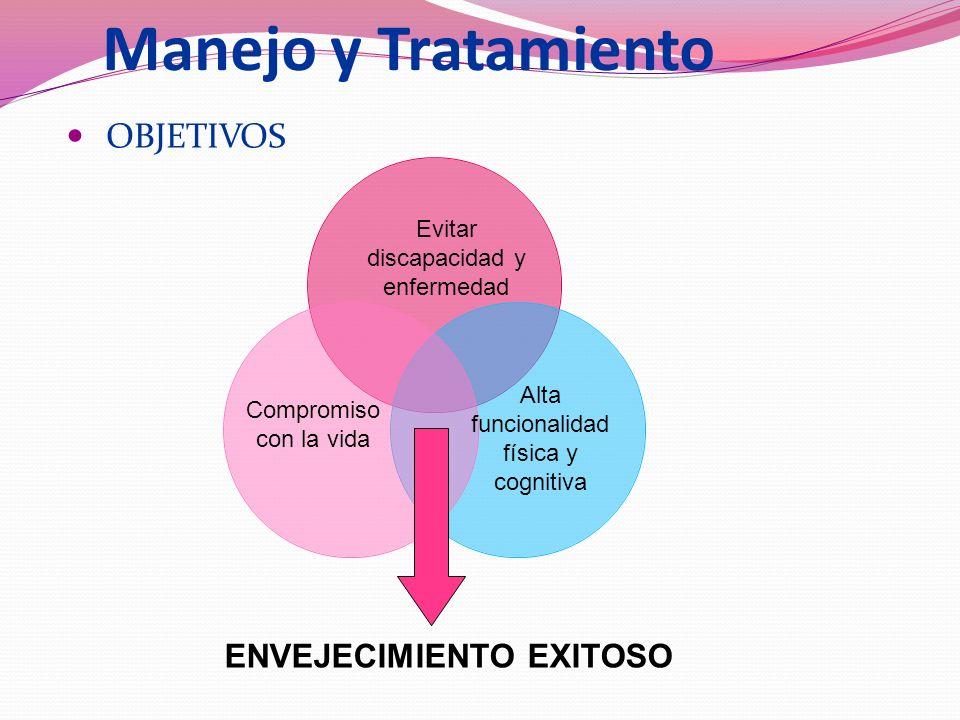 Manejo y Tratamiento OBJETIVOS Evitar discapacidad y enfermedad Compromiso con la vida Alta funcionalidad física y cognitiva ENVEJECIMIENTO EXITOSO