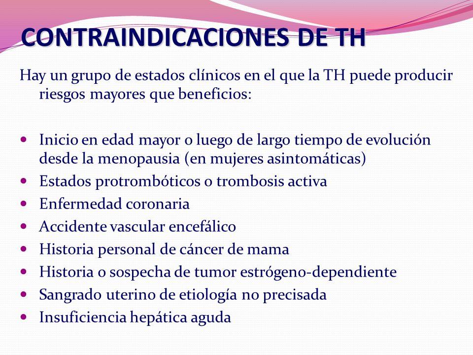 CONTRAINDICACIONES DE TH Hay un grupo de estados clínicos en el que la TH puede producir riesgos mayores que beneficios: Inicio en edad mayor o luego