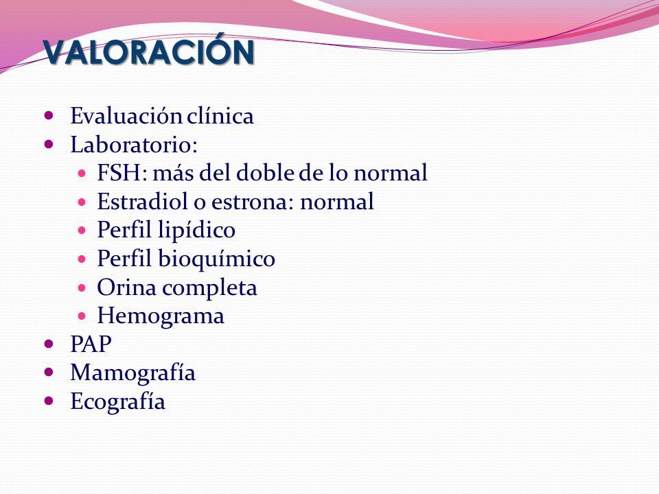 Evaluación clínica Laboratorio: FSH: más del doble de lo normal Estradiol o estrona: normal Perfil lipídico Perfil bioquímico Orina completa Hemograma