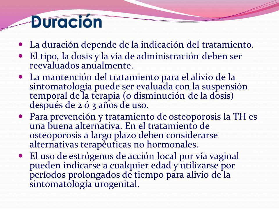 La duración depende de la indicación del tratamiento. El tipo, la dosis y la vía de administración deben ser reevaluados anualmente. La mantención del