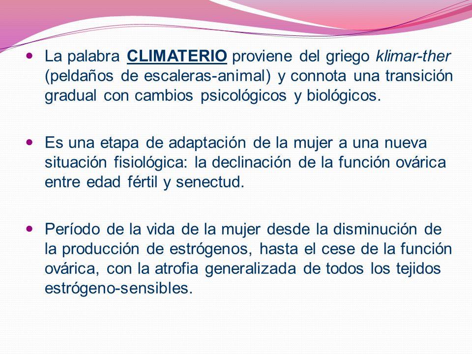 La palabra CLIMATERIO proviene del griego klimar-ther (peldaños de escaleras-animal) y connota una transición gradual con cambios psicológicos y bioló