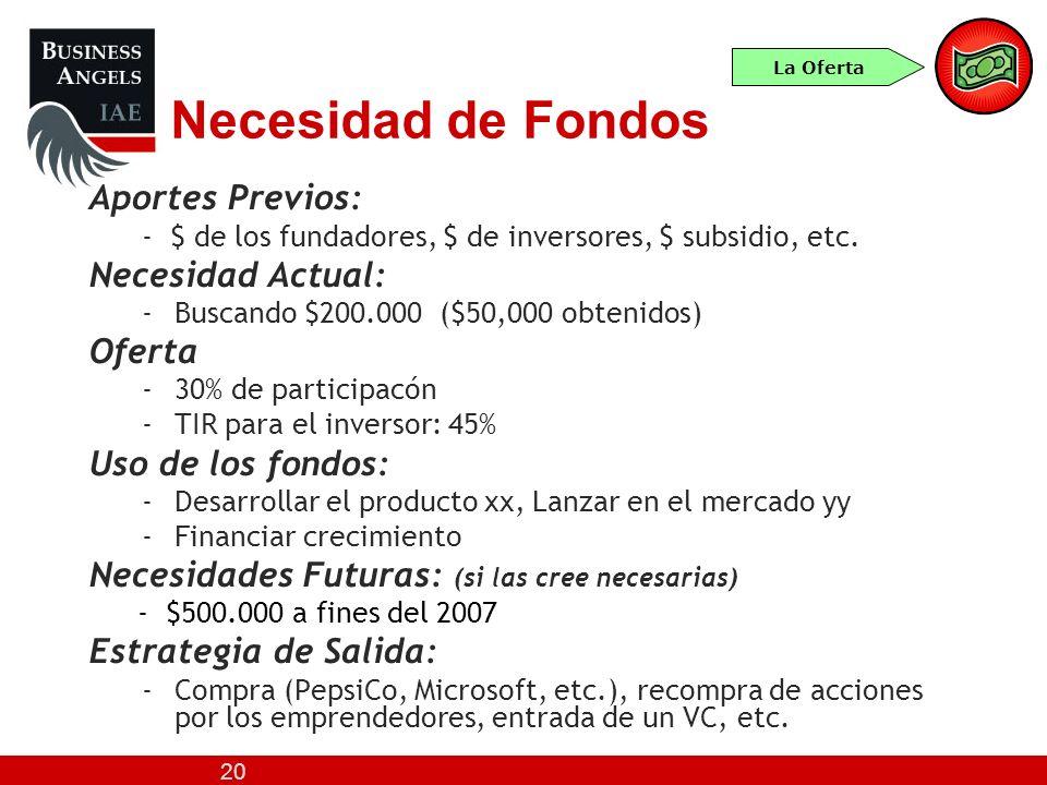 20 Necesidad de Fondos Aportes Previos: - $ de los fundadores, $ de inversores, $ subsidio, etc. Necesidad Actual: -Buscando $200.000 ($50,000 obtenid
