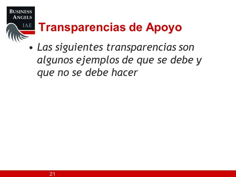 21 Transparencias de Apoyo Las siguientes transparencias son algunos ejemplos de que se debe y que no se debe hacer