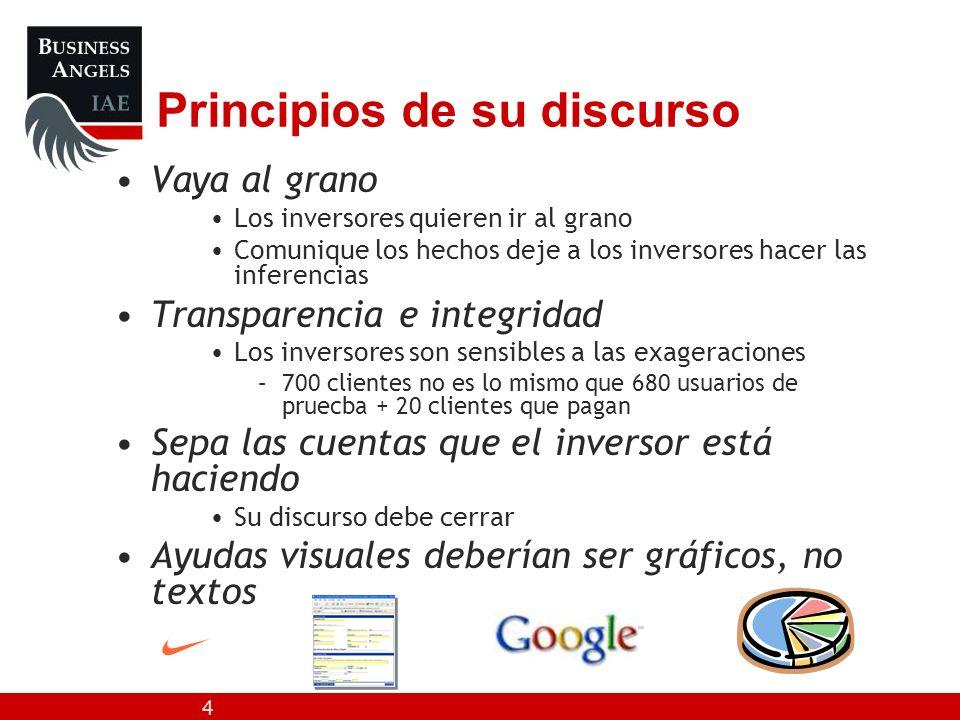 4 Principios de su discurso Vaya al grano Los inversores quieren ir al grano Comunique los hechos deje a los inversores hacer las inferencias Transpar