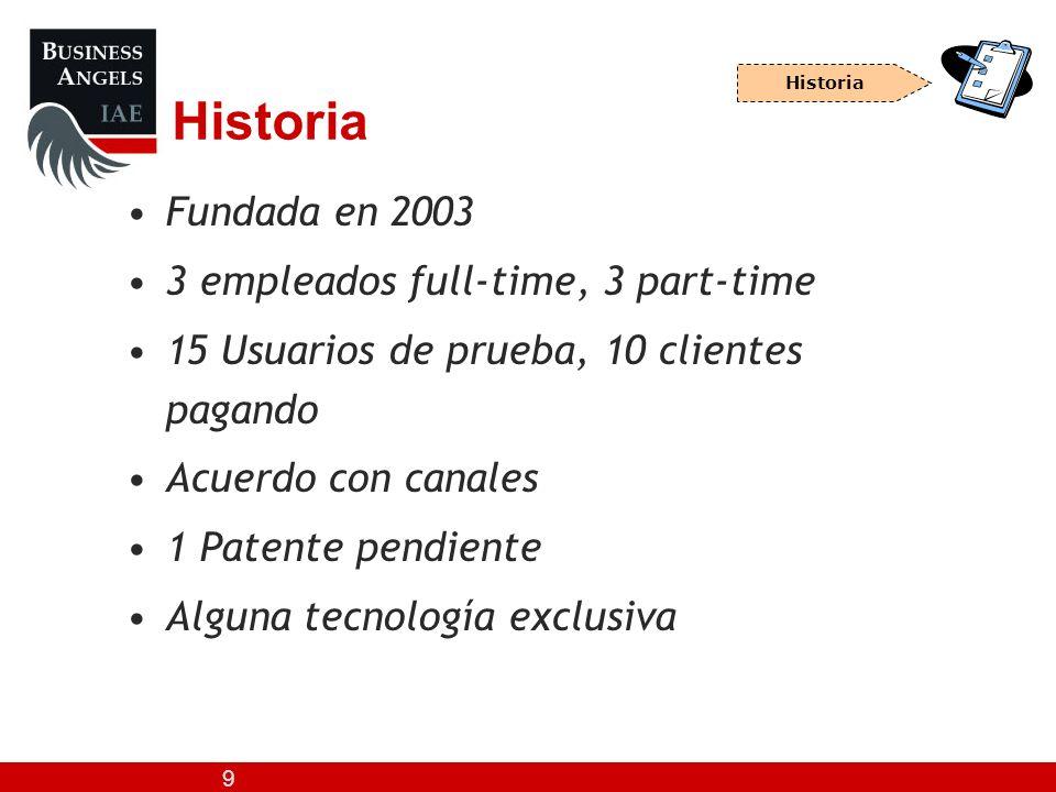 9 Historia Fundada en 2003 3 empleados full-time, 3 part-time 15 Usuarios de prueba, 10 clientes pagando Acuerdo con canales 1 Patente pendiente Algun