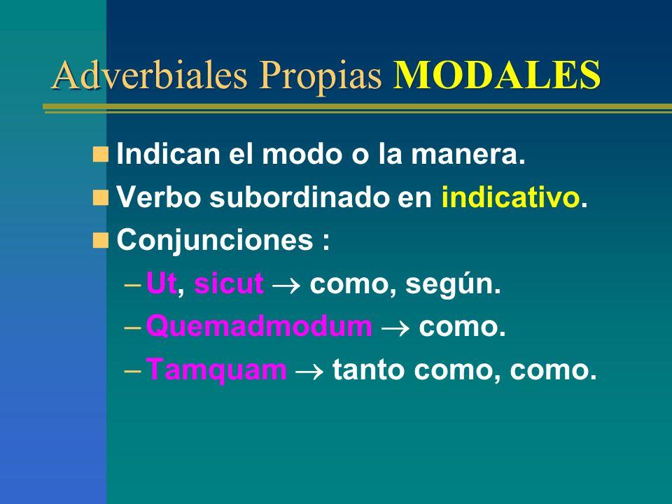Adverbiales Propias LOCALES Indican lugar. Verbo subordinado en indicativo. Conjunciones: –Ubi en donde. –Unde de donde. –Quo hacia donde. –Qua por do