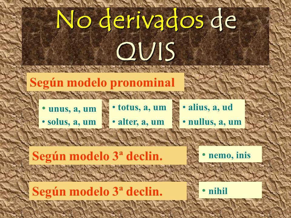 No derivados de QUIS unus, a, um solus, a, um totus, a, um alter, a, um alius, a, ud nullus, a, um Según modelo pronominal Según modelo 3ª declin.