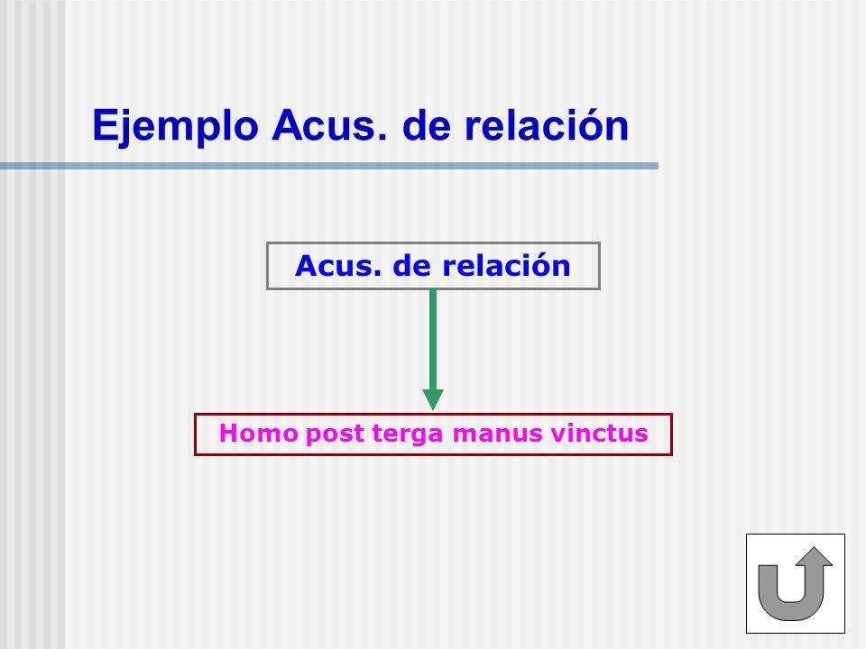 Ejemplo Acus. de relación Acus. de relación Homo post terga manus vinctus