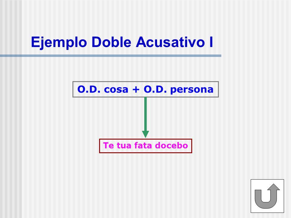 Ejemplo Doble Acusativo I O.D. cosa + O.D. persona Te tua fata docebo