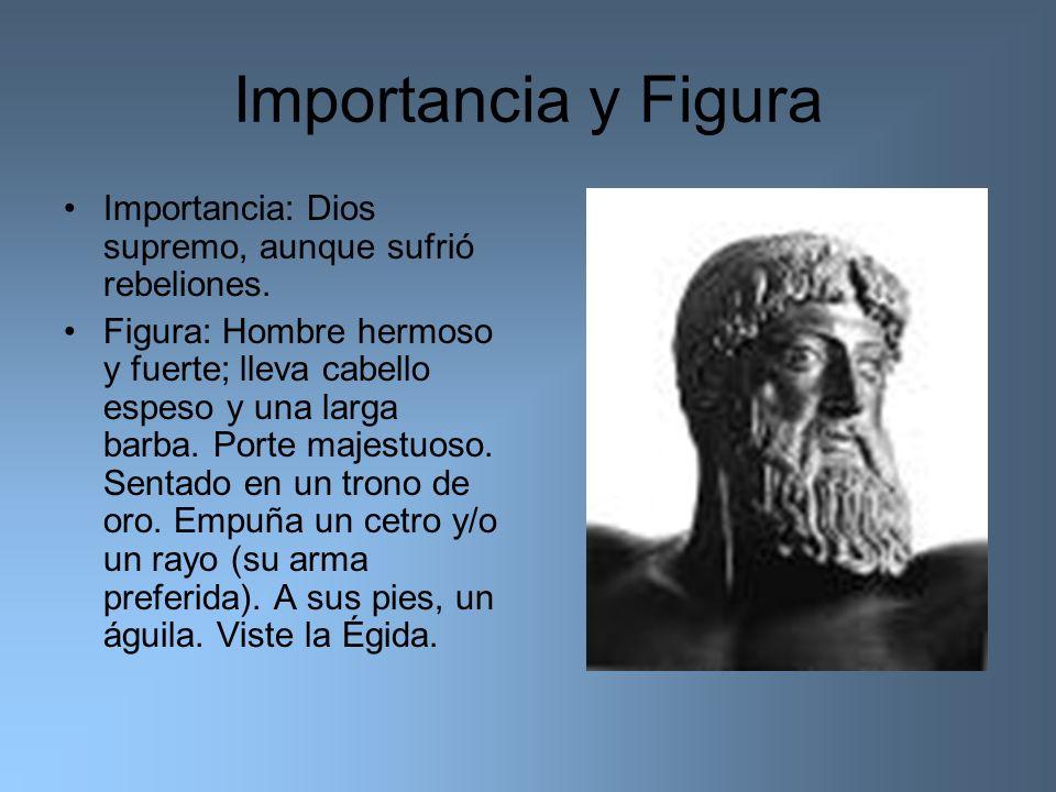 Importancia y Figura Importancia: Dios supremo, aunque sufrió rebeliones. Figura: Hombre hermoso y fuerte; lleva cabello espeso y una larga barba. Por