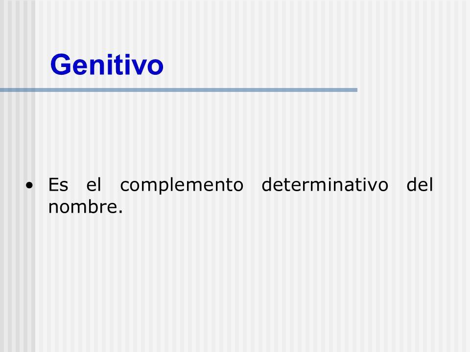 Tipos de GENITIVO Tipos POSESIVO COMPLEMENTO DE VERBOS PARTITIVO COMPLEMENTO DE ADJETIVOS
