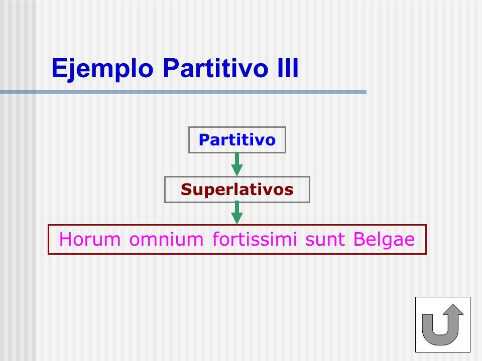 Ejemplo Partitivo IV Partitivo Adjetivos numerales y de cantidad Tertium regum romanorum Pauci romanorum