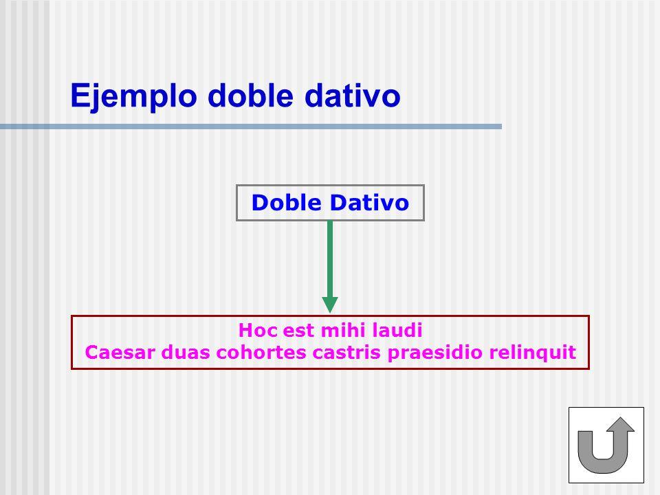 Ejemplo doble dativo Doble Dativo Hoc est mihi laudi Caesar duas cohortes castris praesidio relinquit