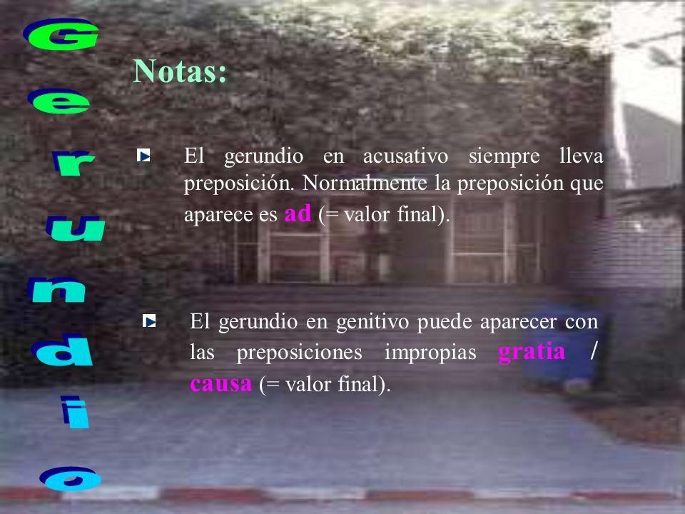 Formas y traducción : NEUTRO SINGULARTRADUCCIÓN ACUSATIVO AMA -ND- UM prep. + infinitivo GENITIVO AMA -ND- I DE + infinitivo DATIVO AMA -ND- O PARA +
