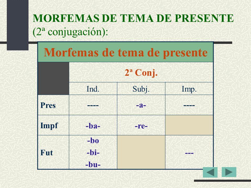 MORFEMAS DE TEMA DE PRESENTE (2ª conjugación): Morfemas de tema de presente 2ª Conj.
