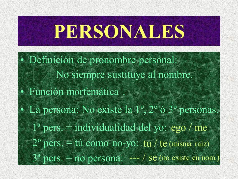 PERSONALES Definición de pronombre personal: No siempre sustituye al nombre.