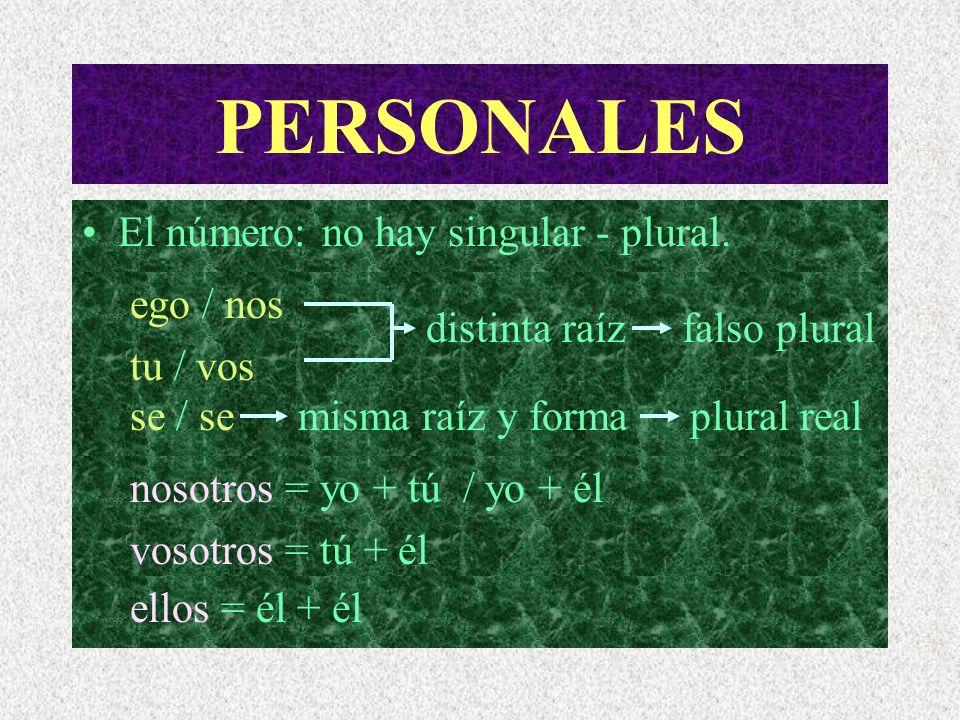 PERSONALES Definición de pronombre personal: No siempre sustituye al nombre. Función morfemática. La persona: No existe la 1º, 2º ó 3º personas. 1ª pe