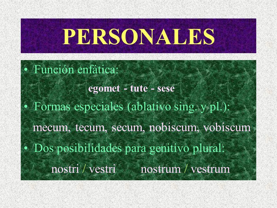 PERSONALES El número: no hay singular - plural. ego / nos tu / vos distinta raíz se / misma raíz y forma falso plural plural real nosotros = yo + tú /