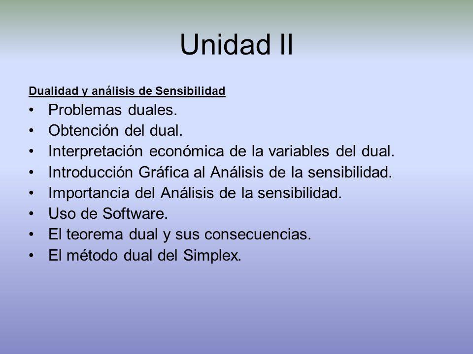 Unidad II Dualidad y análisis de Sensibilidad Problemas duales. Obtención del dual. Interpretación económica de la variables del dual. Introducción Gr