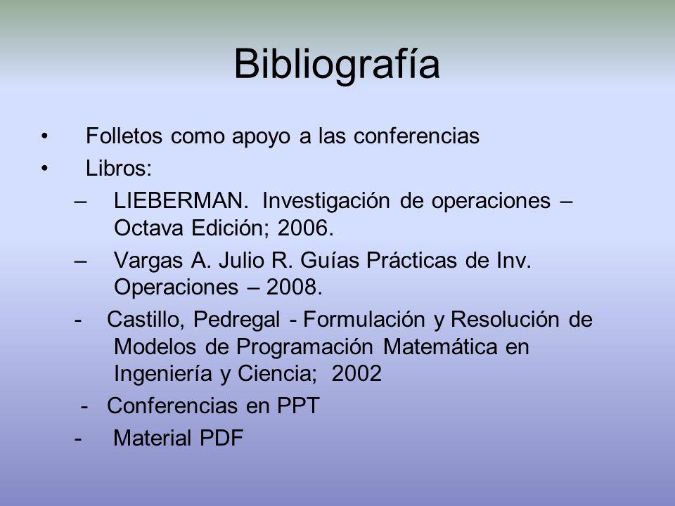 Bibliografía Folletos como apoyo a las conferencias Libros: –LIEBERMAN. Investigación de operaciones – Octava Edición; 2006. –Vargas A. Julio R. Guías