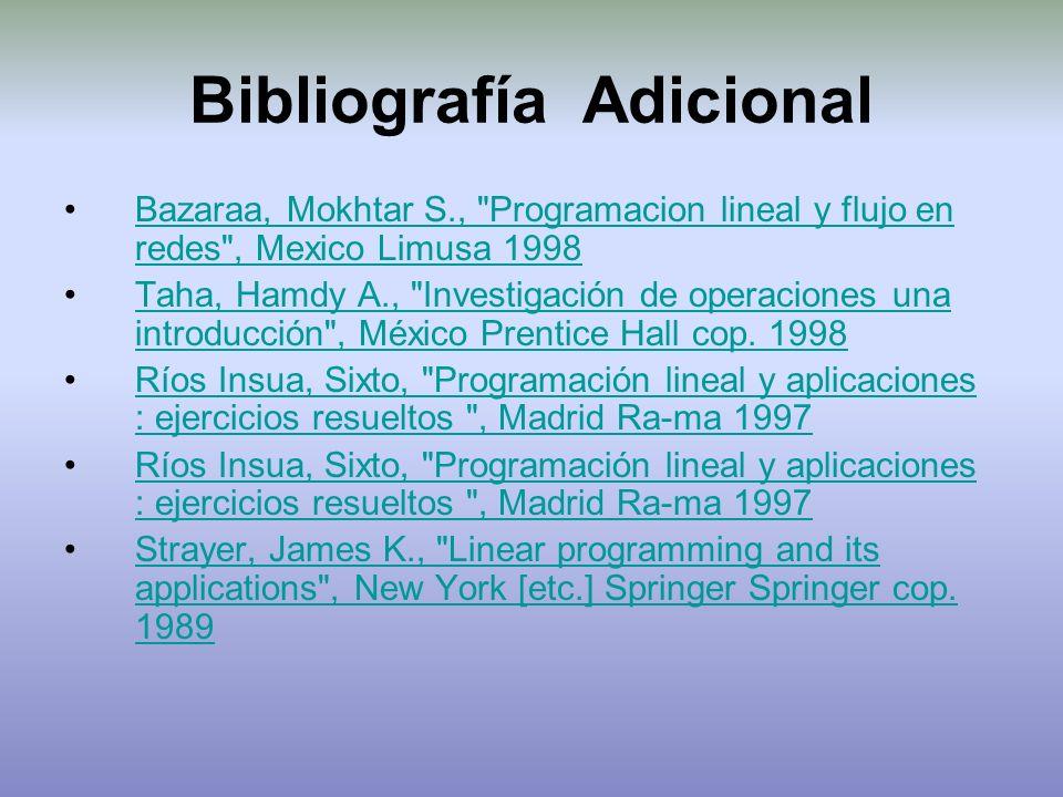 Bibliografía Adicional Bazaraa, Mokhtar S.,