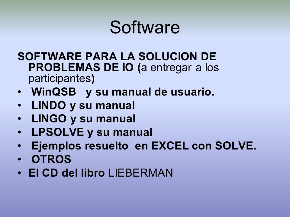 Software SOFTWARE PARA LA SOLUCION DE PROBLEMAS DE IO (a entregar a los participantes) WinQSB y su manual de usuario. LINDO y su manual LINGO y su man