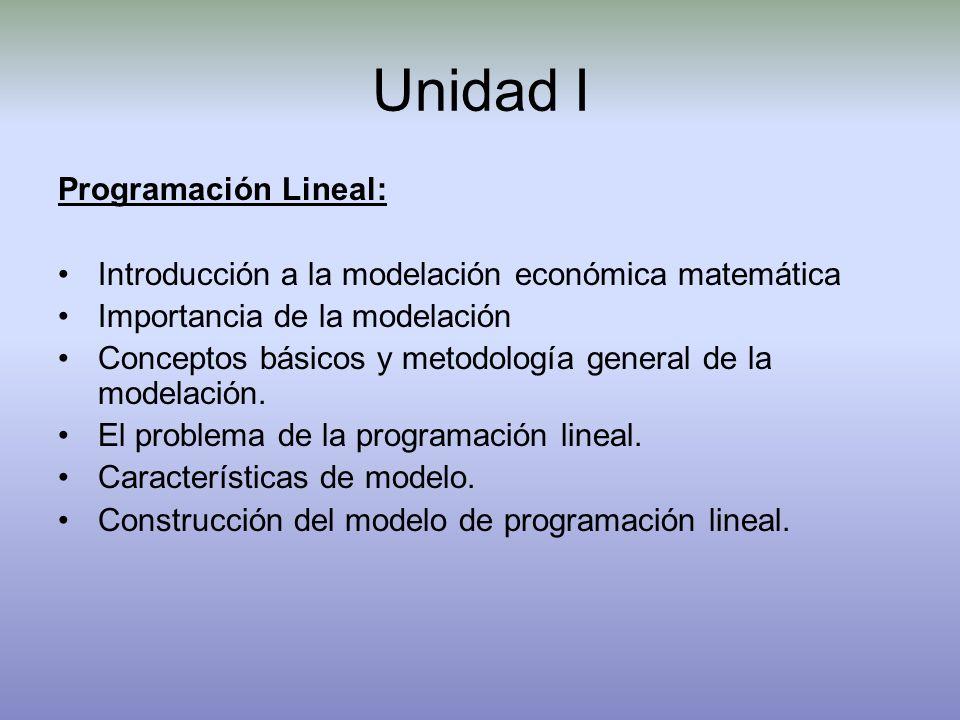 Unidad I Programación Lineal: Introducción a la modelación económica matemática Importancia de la modelación Conceptos básicos y metodología general d