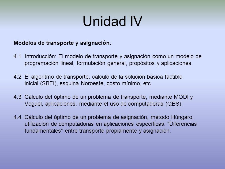 Unidad IV Modelos de transporte y asignación. 4.1 Introducción: El modelo de transporte y asignación como un modelo de programación lineal, formulació