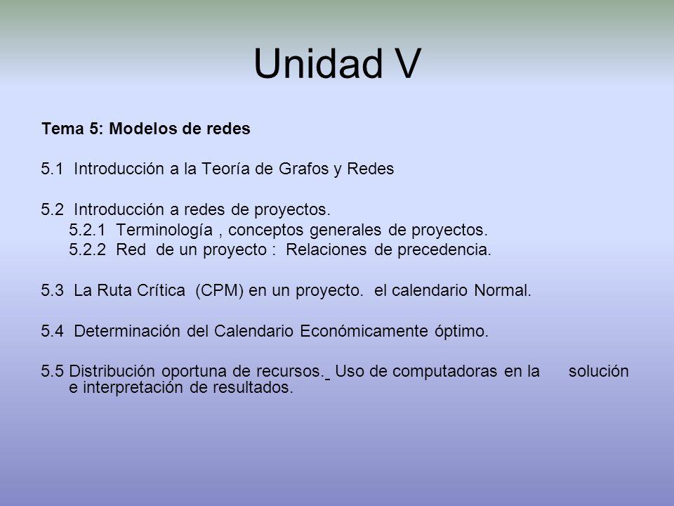 Unidad V Tema 5: Modelos de redes 5.1 Introducción a la Teoría de Grafos y Redes 5.2 Introducción a redes de proyectos. 5.2.1 Terminología, conceptos