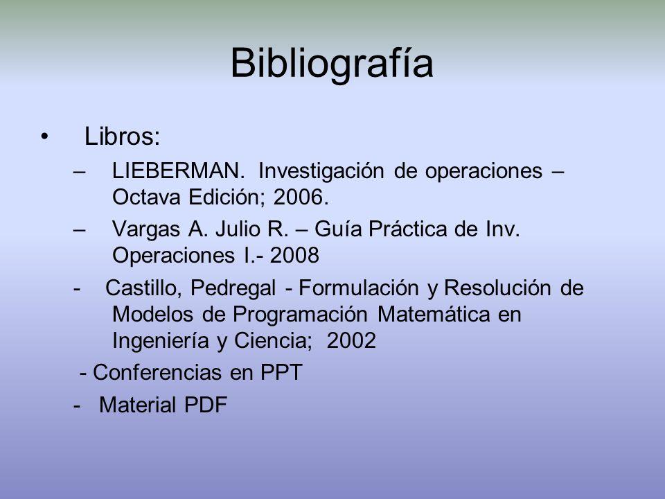 Bibliografía Libros: –LIEBERMAN. Investigación de operaciones – Octava Edición; 2006. –Vargas A. Julio R. – Guía Práctica de Inv. Operaciones I.- 2008