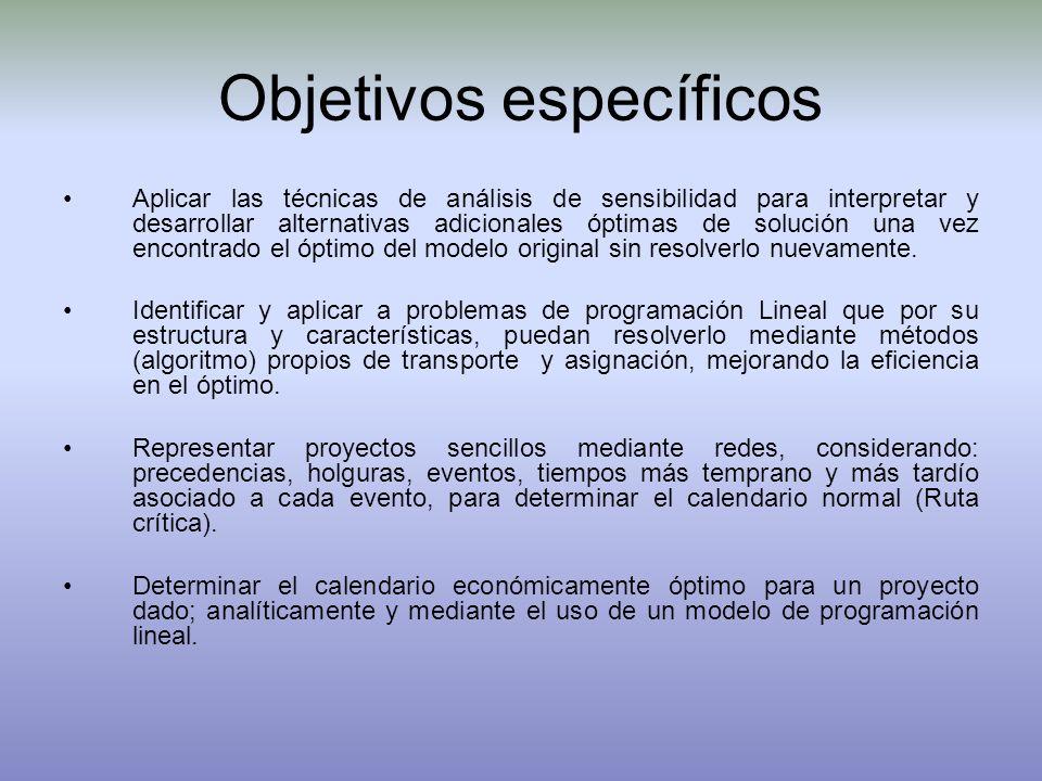 Objetivos específicos Aplicar las técnicas de análisis de sensibilidad para interpretar y desarrollar alternativas adicionales óptimas de solución una