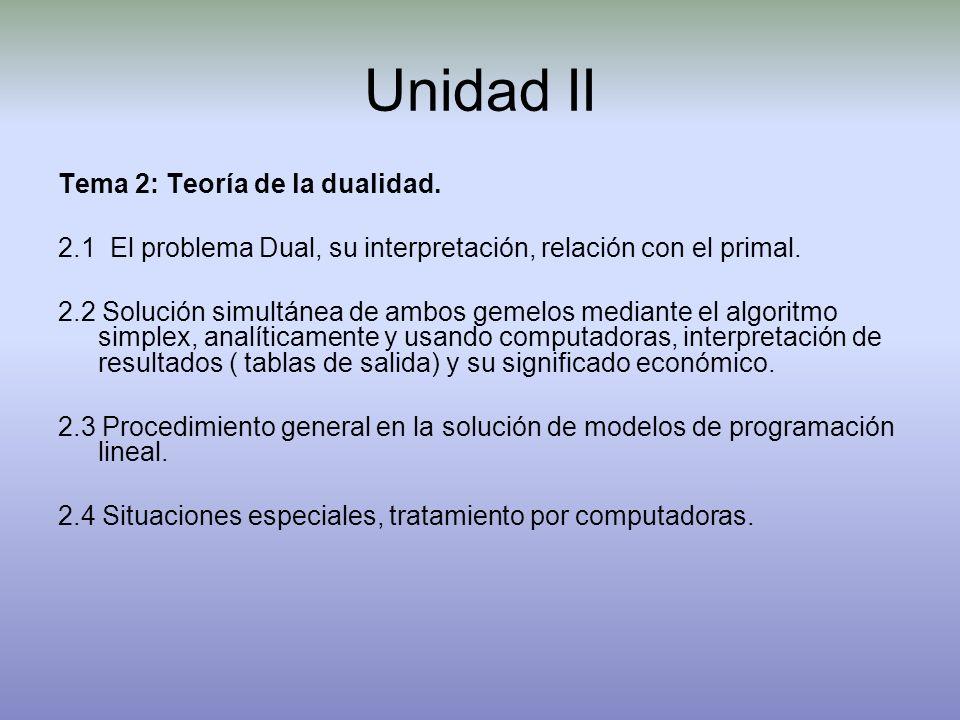 Unidad II Tema 2: Teoría de la dualidad. 2.1 El problema Dual, su interpretación, relación con el primal. 2.2 Solución simultánea de ambos gemelos med