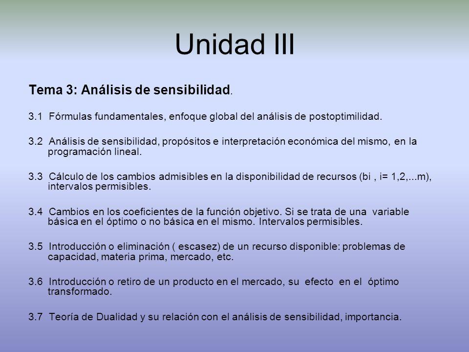 Unidad III Tema 3: Análisis de sensibilidad. 3.1 Fórmulas fundamentales, enfoque global del análisis de postoptimilidad. 3.2 Análisis de sensibilidad,