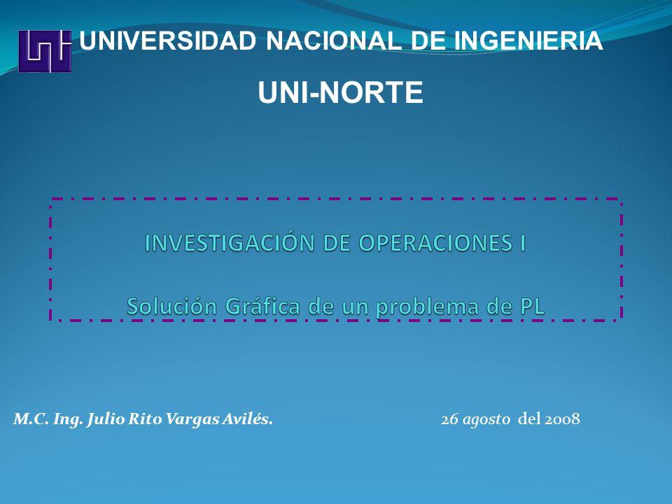 M.C. Ing. Julio Rito Vargas Avilés. 26 agosto del 2008 UNIVERSIDAD NACIONAL DE INGENIERIA UNI-NORTE