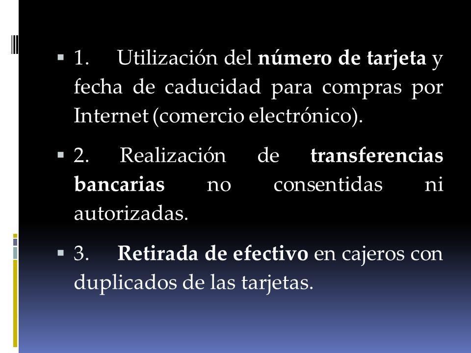 1. Utilización del número de tarjeta y fecha de caducidad para compras por Internet (comercio electrónico). 2. Realización de transferencias bancarias