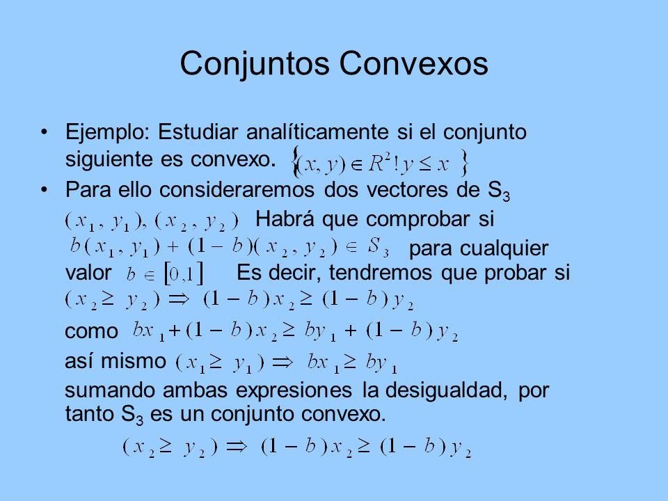 Conjuntos Convexos Ejemplo: Estudiar analíticamente si el conjunto siguiente es convexo. Para ello consideraremos dos vectores de S 3 Habrá que compro