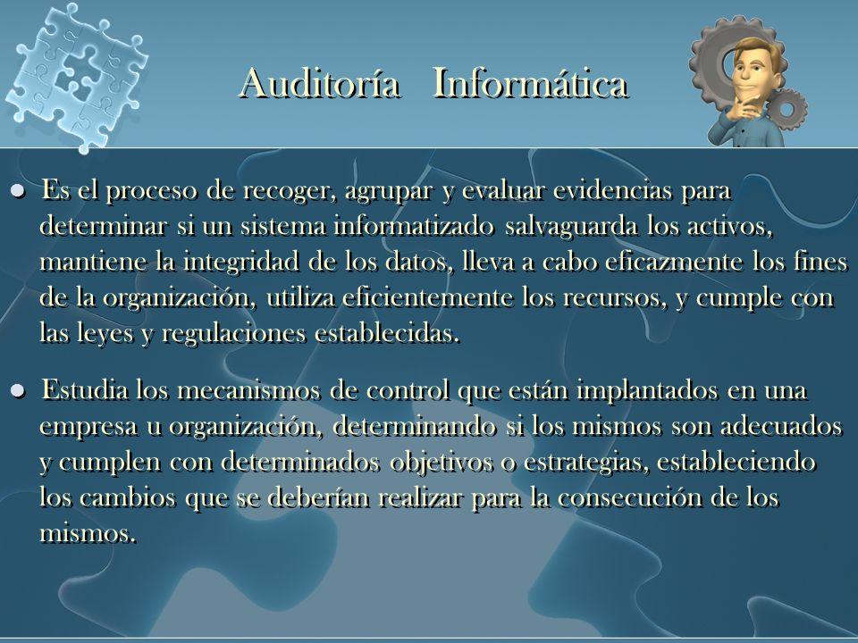 Auditoría Informática Es el proceso de recoger, agrupar y evaluar evidencias para determinar si un sistema informatizado salvaguarda los activos, mant