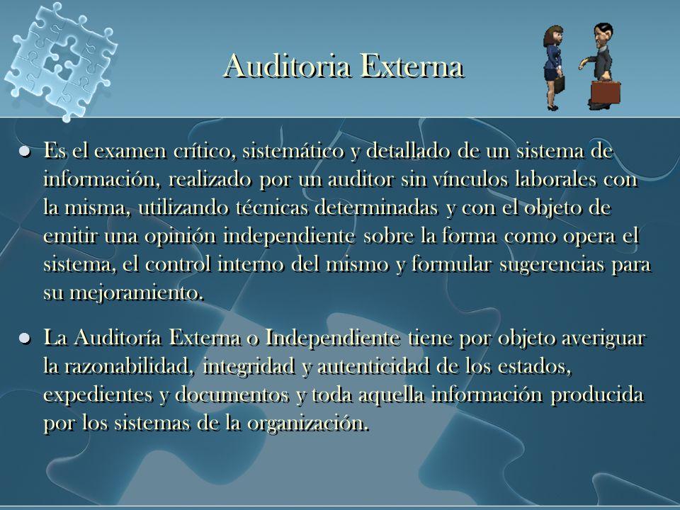 Auditoria Externa Es el examen crítico, sistemático y detallado de un sistema de información, realizado por un auditor sin vínculos laborales con la m